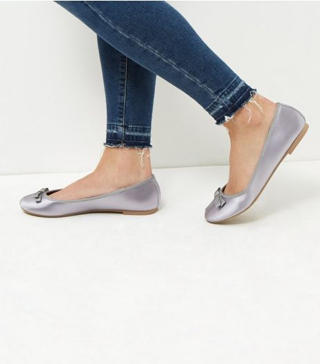 Wide Fit Grey Sateen Double Bow Ballet Pumps  | New Look