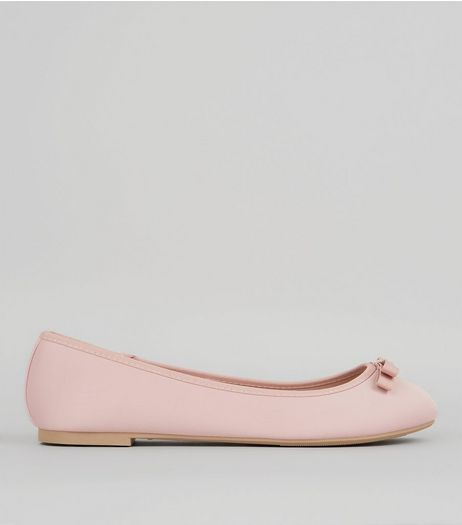 Wide Fit Pink Satin Bow Front Ballet Pumps | New Look