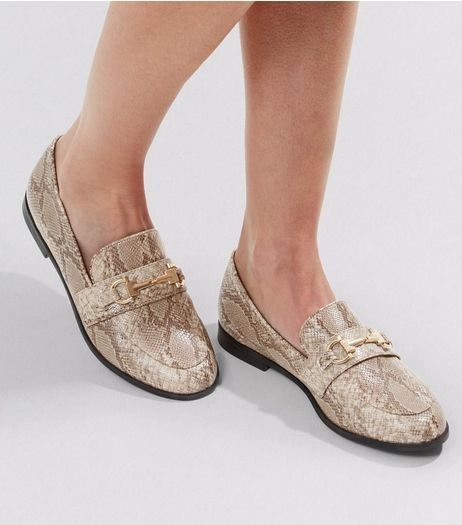 Stone Snakeskin Loafers | New Look