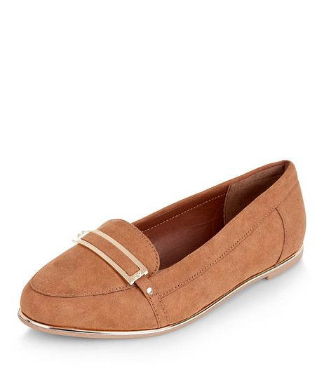 Teens Tan Suedette Metal Details Loafers | New Look