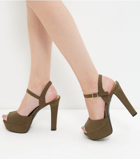 Wide Fit Khaki Suedette Platform Block Heel Sandals  | New Look