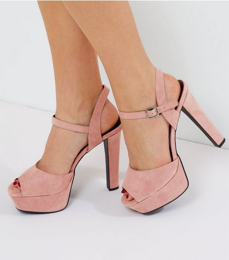 Pink Wide Fit Suedette Ankle Strap Platform Heels | New Look
