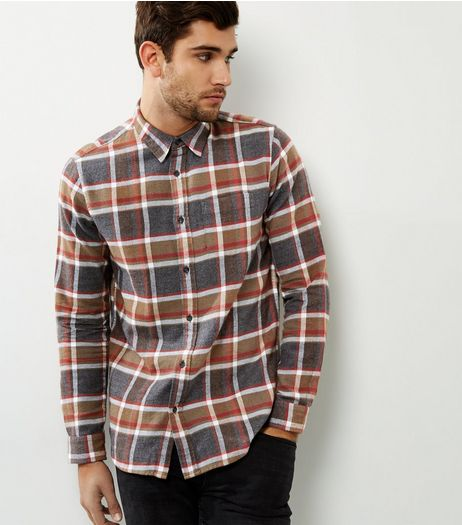 Stone Check Long Sleeve Shirt | New Look