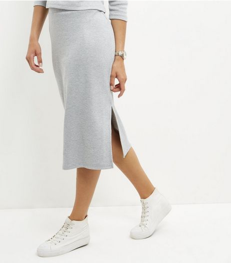 Brave Soul Grey Split Hem Midi Skirt | New Look