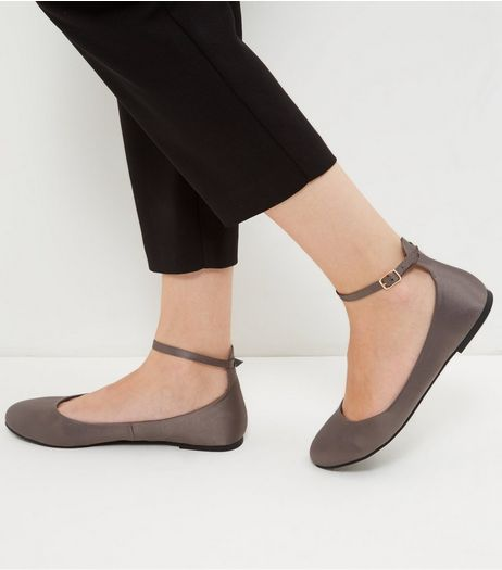 Grey Satin Ankle Strap Pumps | New Look