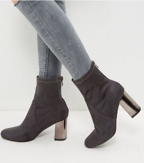 Wide Fit Grey Suedette Metal Heel Ankle Boots | New Look