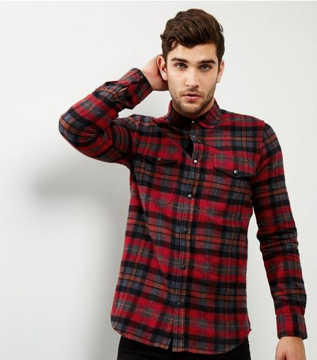 Red Check Double Pocket Shirt | New Look
