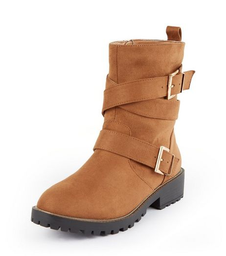 Teens Tan Suedette Ankle Strap Cleated Sole Boots | New Look