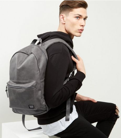 Grey Leather-Look Backpack | New Look