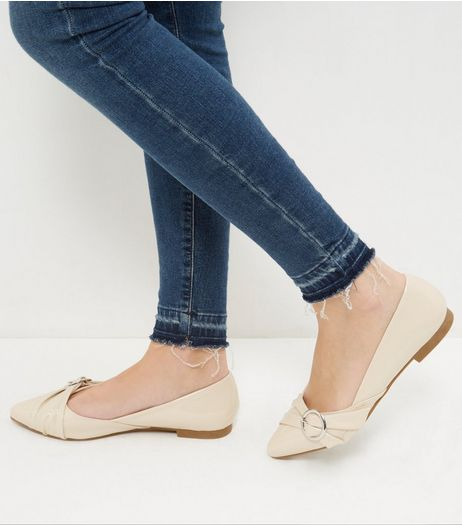 Wide Fit Cream Patent Ruched Buckle Pumps | New Look