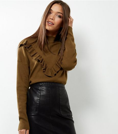 Olive Green Frill Trim Long Sleeve Jumper  | New Look