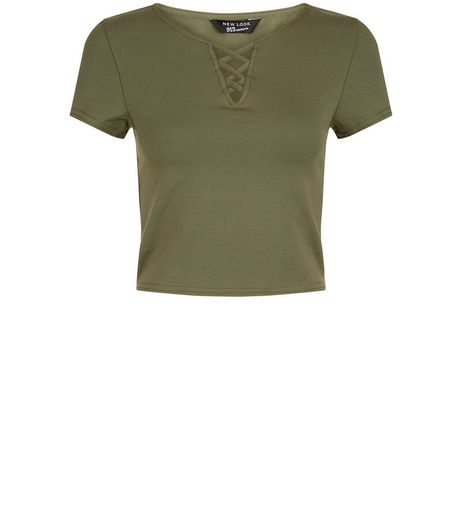 Teens Khaki Lattice Front T-shirt | New Look