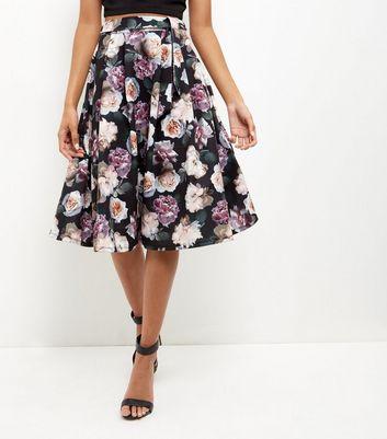 Black Floral Print Midi Skater Skirt