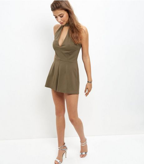 Khaki Cut Out Front Playsuit | New Look