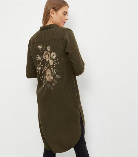Khaki Floral Embroidered Longline Shirt  | New Look