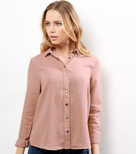 Shell Pink Embroidered Denim Long Sleeve Shirt  | New Look