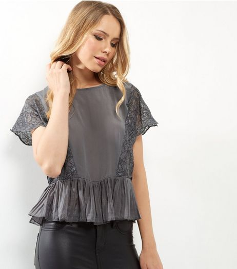 Grey Lace Sleeve Shell Top | New Look