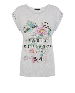 Grey Paris Rose Roll Sleeve T-Shirt  | New Look
