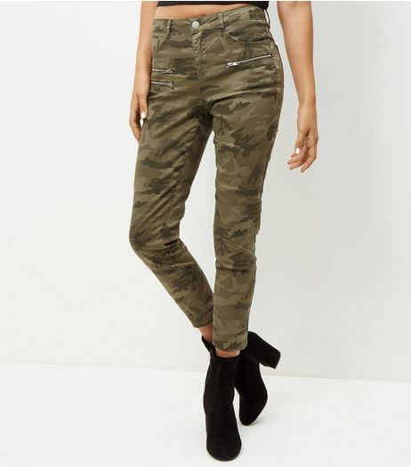 Khaki Camo Print Zip Pocket Trousers  | New Look