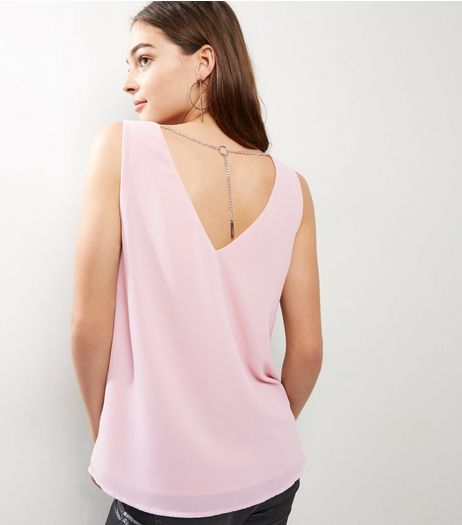 Pink Necklace Trim V Neck Sleeveless Top | New Look