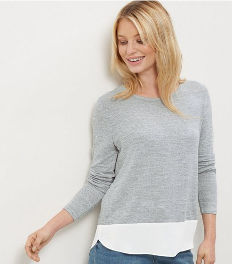 Pale Grey 2 in 1 Chiffon Hem Top | New Look