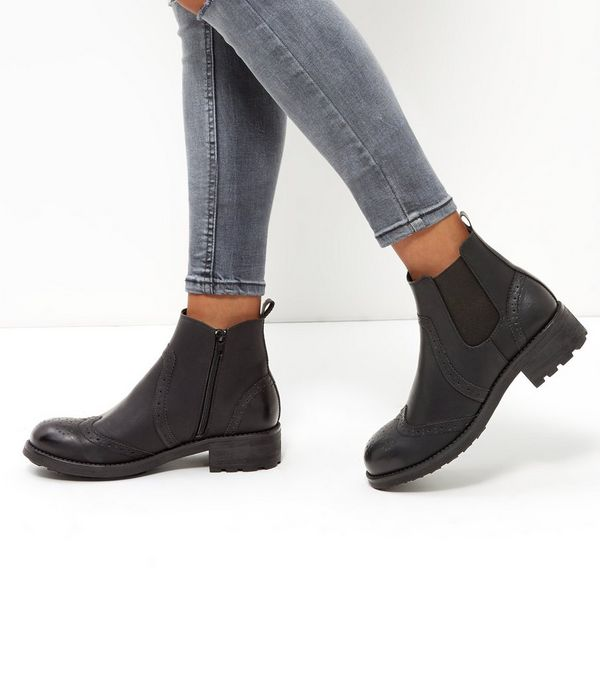 Black Leather-Look Chelsea Boots