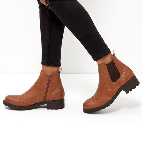 Tan Leather-Look Chelsea Boots | New Look