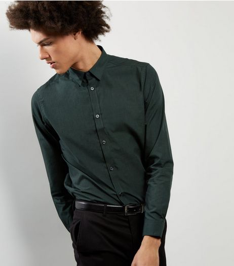 Dark Green Cross Dye Long Sleeve Shirt | New Look