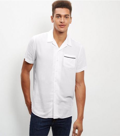 White Tipped Revere Short Sleeve Shirt | New Look