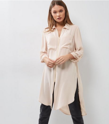 Shell Pink Zip Front Longline Shirt | New Look