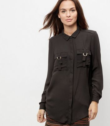 Black Double Pocket Front Buckle Shirt