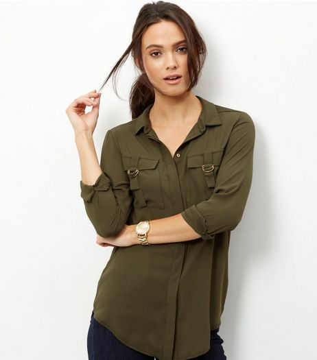 Khaki Military D Ring Pocket shirt | New Look