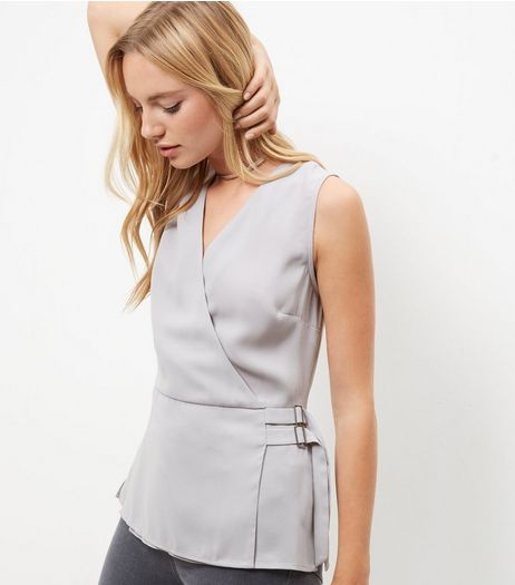 Gray Front Wrap Sleeveless Top | New Look