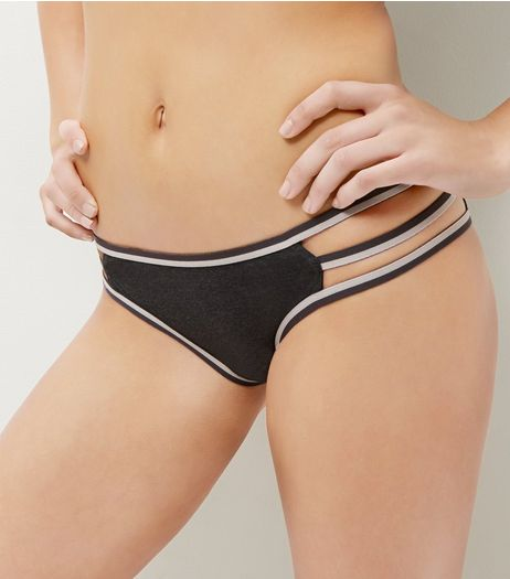 Dark Grey Stripe Strappy Briefs  | New Look