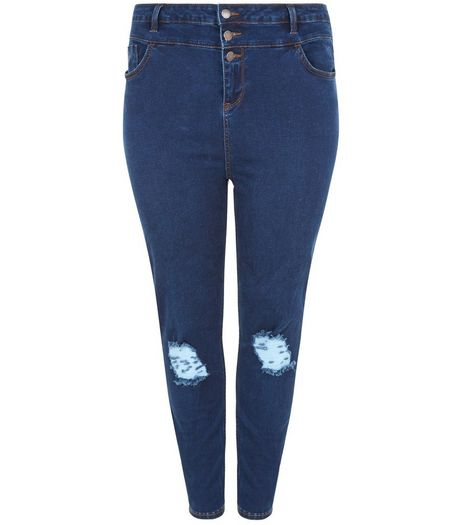 Curves Blue High Waisted Ripped Knee Skinny Jeans | New Look