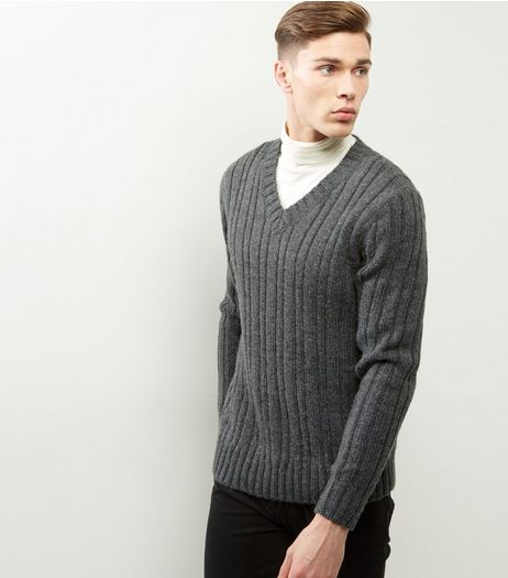 Grey Ribbed V Neck Jumper | New Look