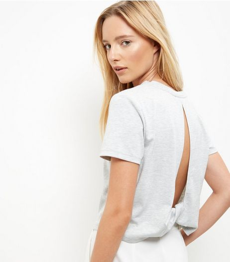 Grey Twist Cut Out Back T-Shirt  | New Look