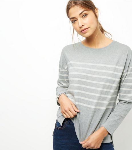 Grey Stripe Panel Long Sleeve Top  | New Look