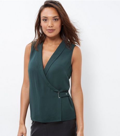 Dark Green Wrap Front Sleeveless Top | New Look