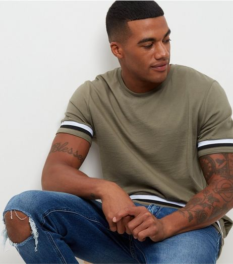 Khaki Stripe Trim Ribbed T-Shirt | New Look
