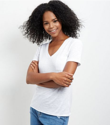 White Single Pocket V Neck Boyfriend T-Shirt  | New Look