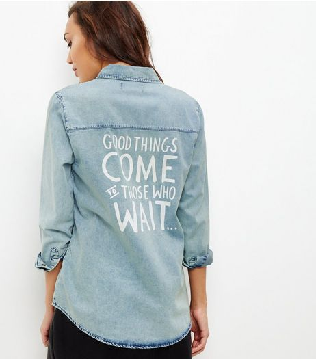 Light Blue Be You Graffiti Long Sleeve Shirt  | New Look