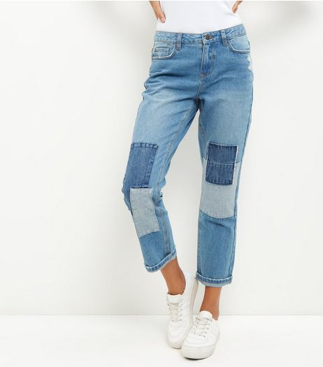 Blue Patchwork Straight Leg Jeans | New Look