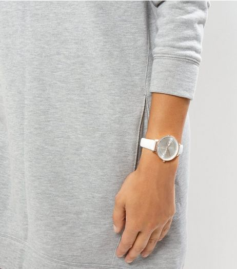 White Leather-Look Strap Watch | New Look