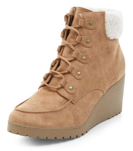 Teens Tan Suedette Lace Up Ankle Boots | New Look