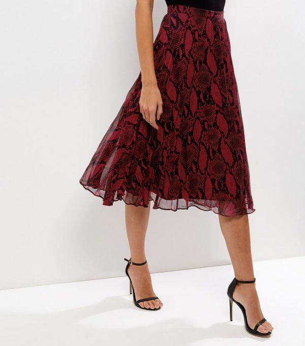 Red Snakeskin Print Layered Pleated Midi Skirt