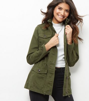 Khaki Cotton Button Front Parka Jacket