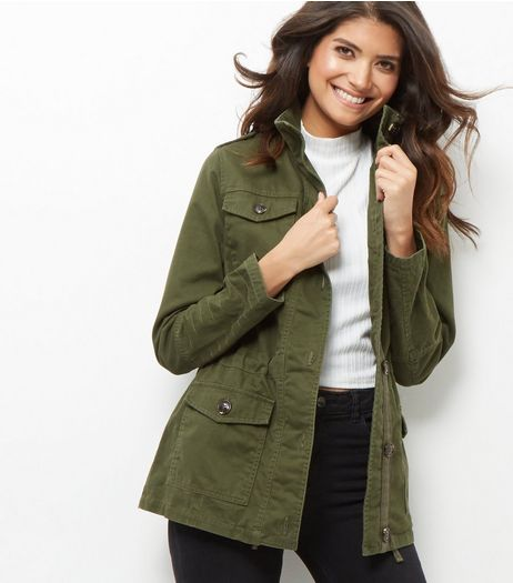 Khaki Cotton Button Front Parka Jacket  | New Look