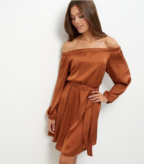 Brown Sateen Bardot Neck Belted Dress | New Look