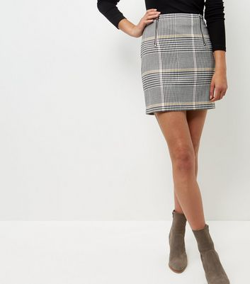 Gonna  donna Black Check Double Zip Front A-Line Skirt